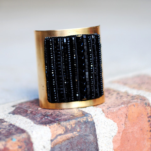 Black and Brass Embroidered Cuff Bracelet