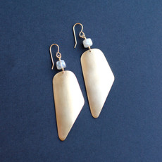 Long Gold Earrings with Faceted Grey Moonstone