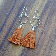 Sterling Silver Tassel Earrings in Pumpkin Orange