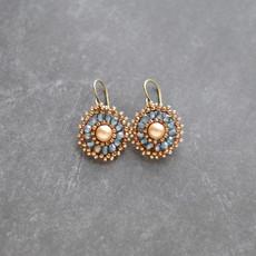 Beaded Pearl Dangle Earrings in Blue and Bronze