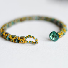 Beaded Tile Bracelet with Swarovski Crystal Button Closure // Teal and Chartreuse