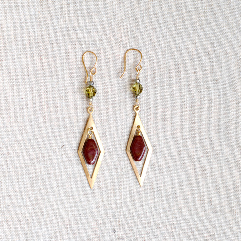 Gold Dangle Earrings with Green Swarovski Crystal and Maroon Glass Beads