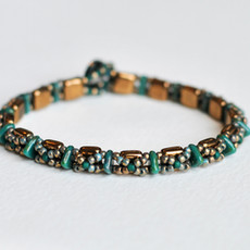 Beaded Tile Bracelet with Swarovski Crystal Button Closure // Bronze and Teal