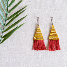 Brick Stitch Earrings with Red Tassels