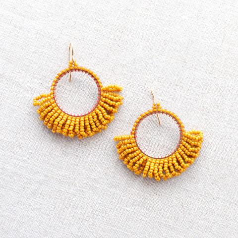 Beaded Hoop Fringe Earrings in Bright Goldenrod Yellow
