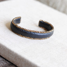 Black Leather Cuff Bracelet with Brass Edging
