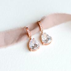 Rose Gold Huggie Hoop Dangle Earrings with Cubic Zirconia