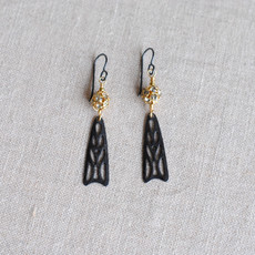 Black and Gold Art Deco Dangle Earrings with Swarovski Crystal