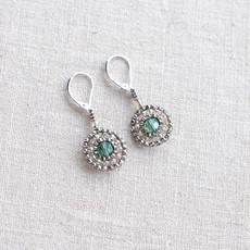 Silver and Green Beaded Drop Earrings // Seed Beaded Earrings