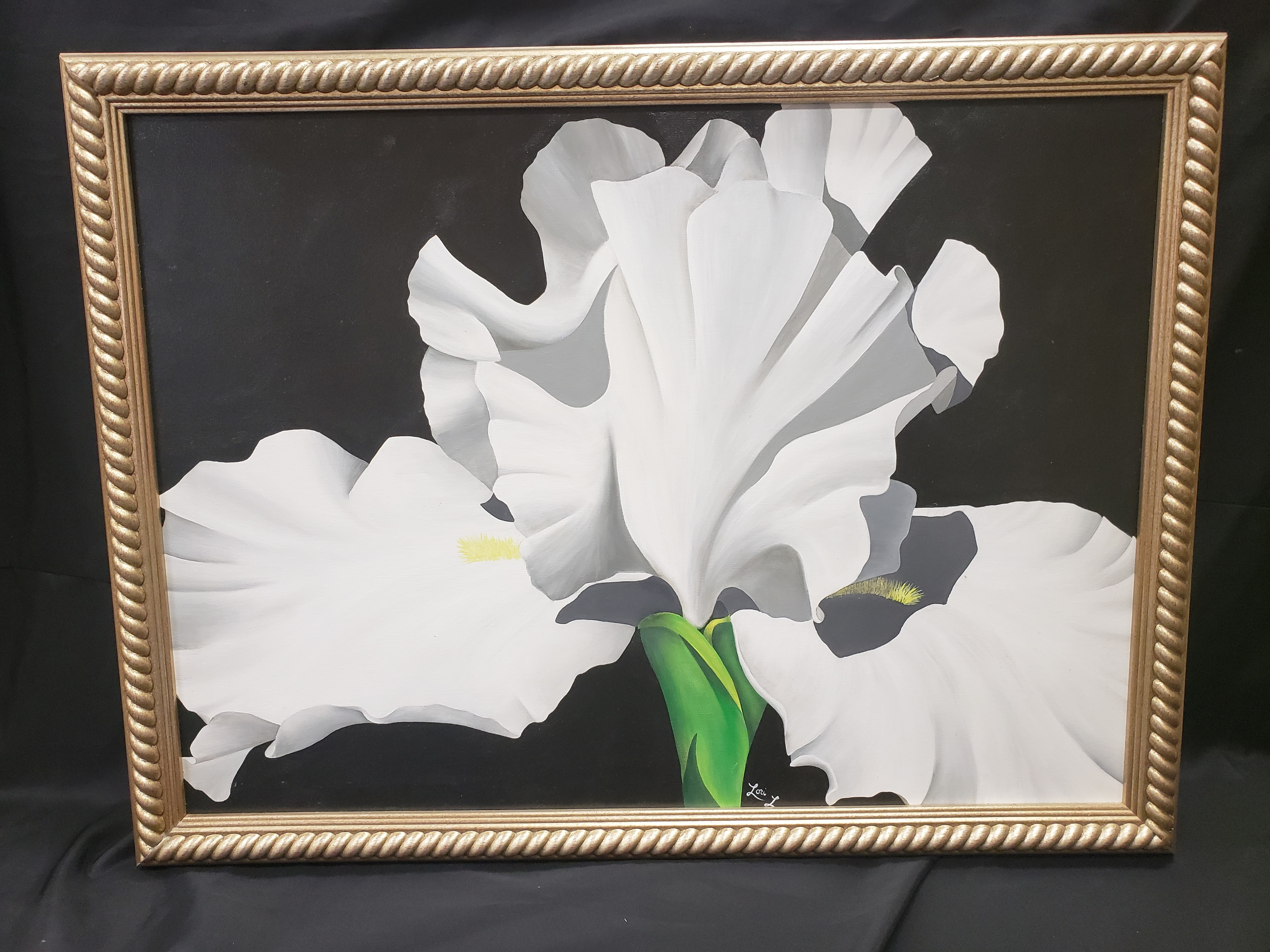 White Bearded Iris Painting