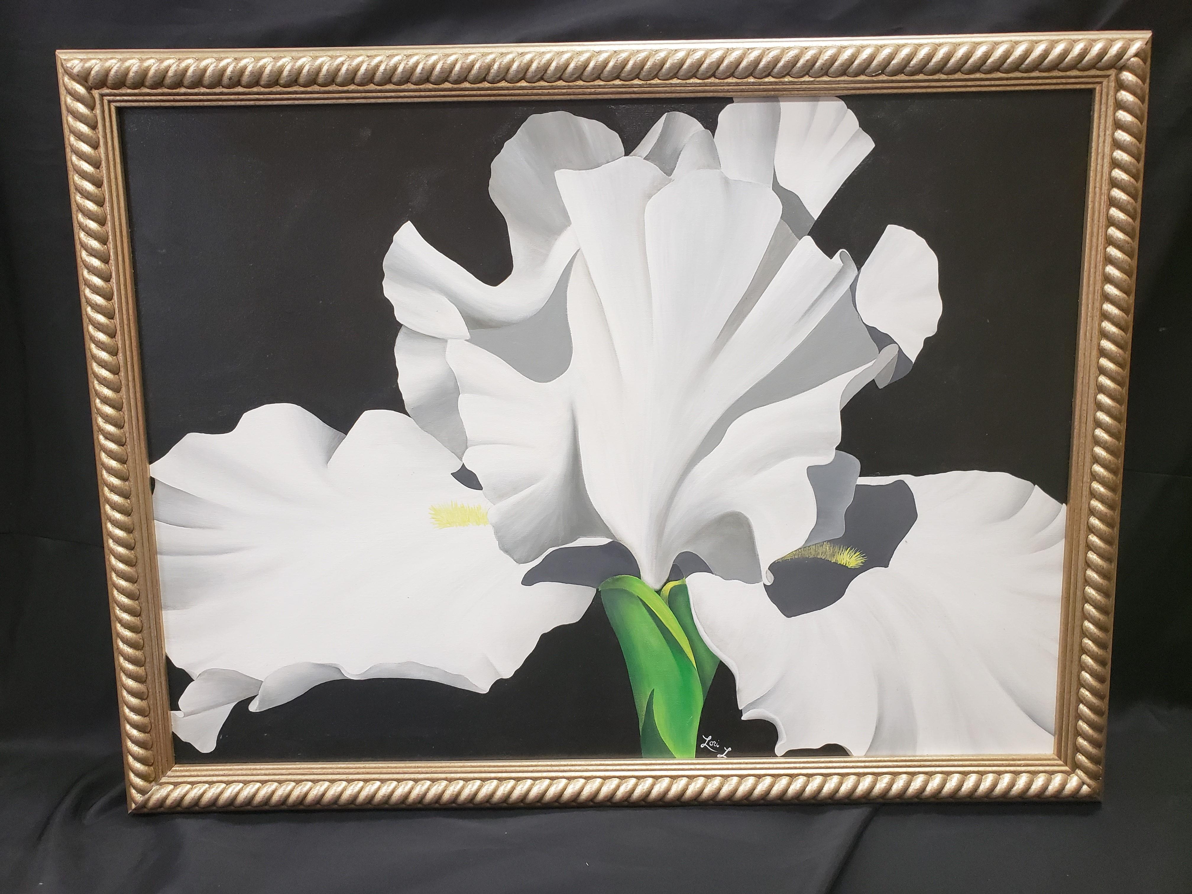 White Bearded Iris Painting