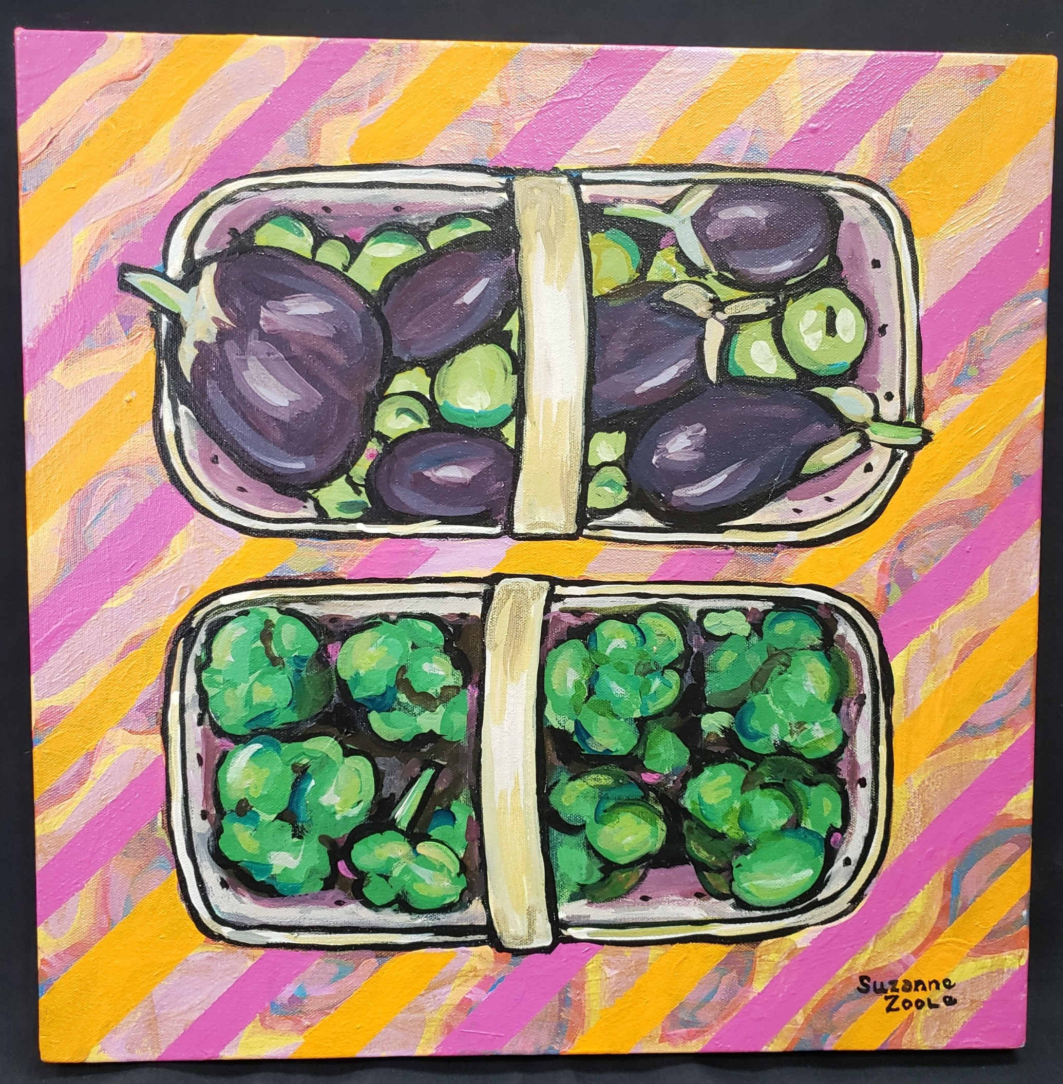 Eggplant and Broccoli Painting