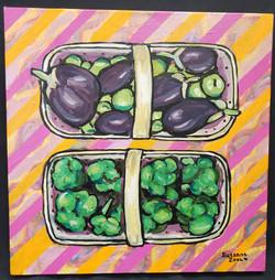 Eggplant and Broccoli Painting