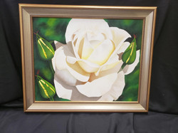 Cream Rose with Rosebuds Painting