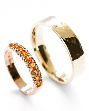 handmade wedding ring set in yellow gold