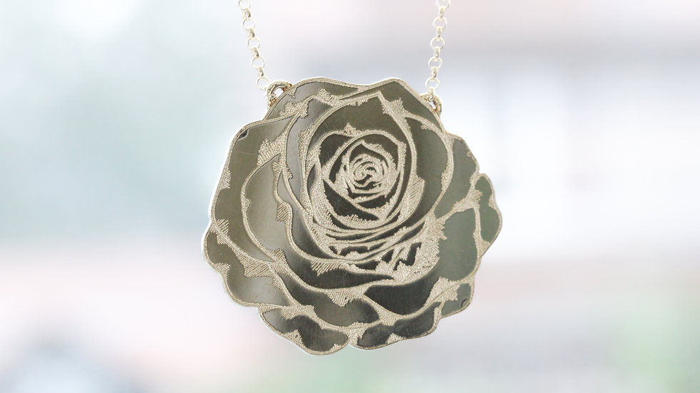 Solid Sterling Silver Rose Necklace