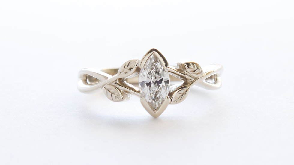 9ct white Fairtrade Gold and Recycled Diamond Engagement Ring