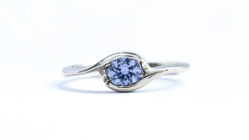Purple Spinel Twist Engagement Ring