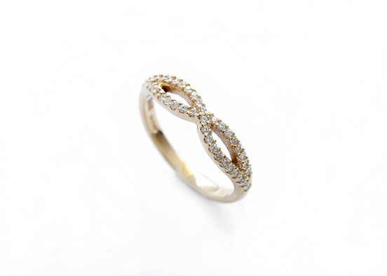 diamond set wishbone wedding ring