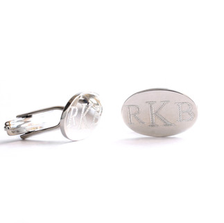 Groomsman initial silver cufflinks