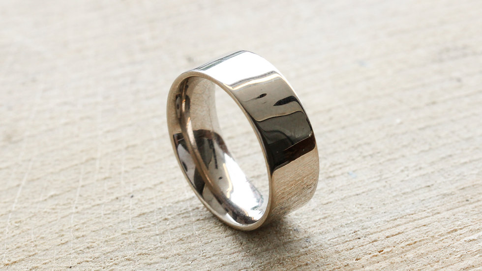 Wide 18ct white gold ring