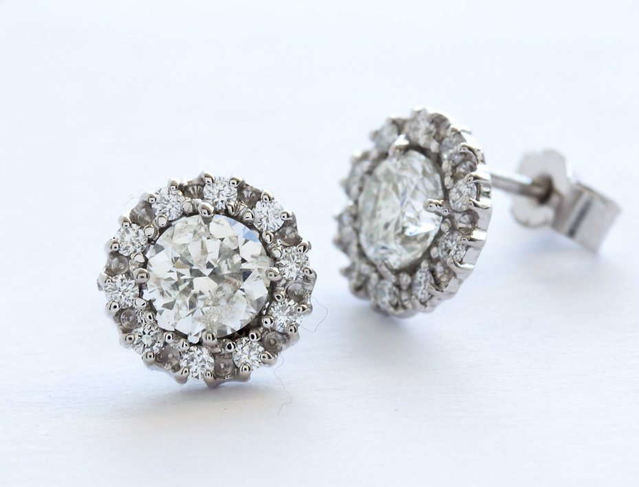 Large diamond cluster earrings