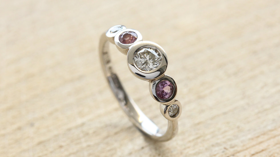 Pink Sapphire and Diamond Bubble Ring