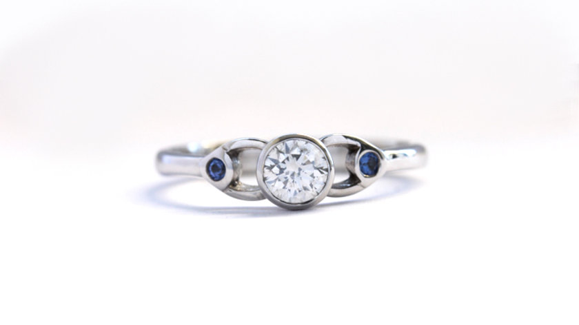 Unusual Trilogy Diamond & Sapphire Engagement Ring