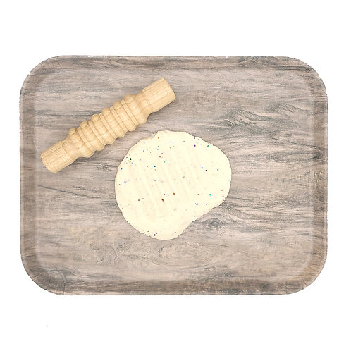 Wood play tray with sensory dough and wooden dough textured rolling pin