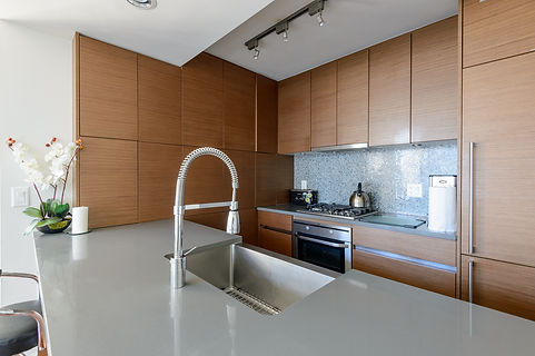 Bright modern kitchen with stainless ste