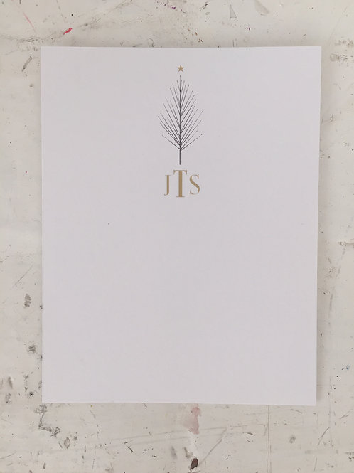 Monogram Holiday Tree Flat Card