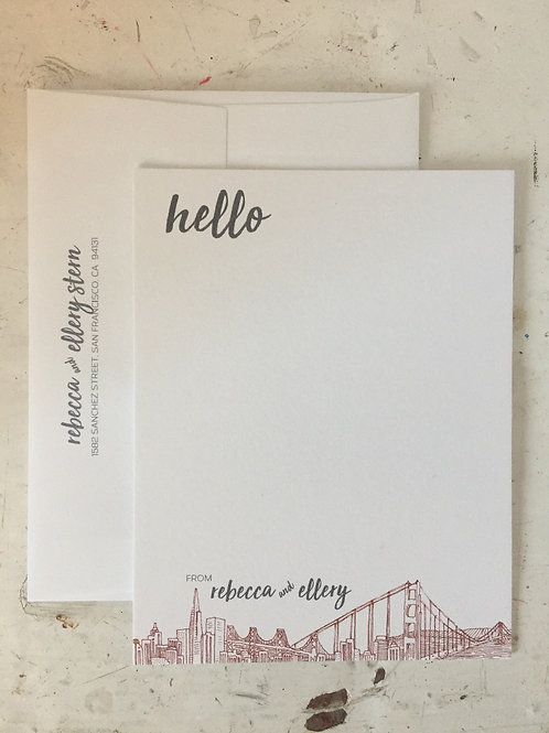 Hello San Francisco! Luxe Double Thick Flat Card