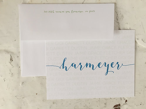 Jaime Large Script Flat Card