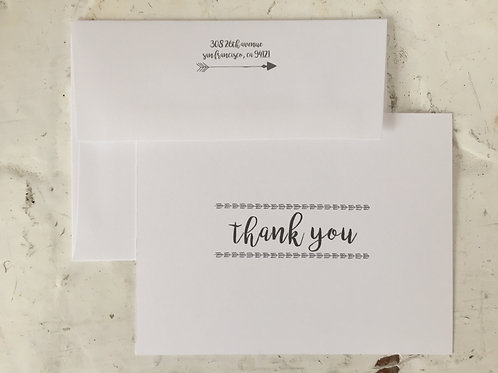 Arrowhead Thank You Folding Card