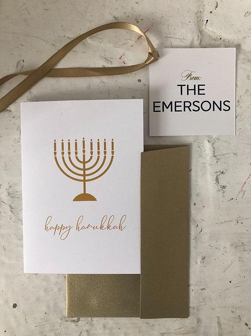 Golden Menorah Hanukkah Folding Card Set of 10