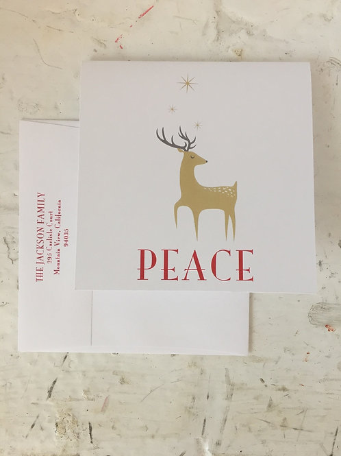 Reindeer Peace Square Folded Card