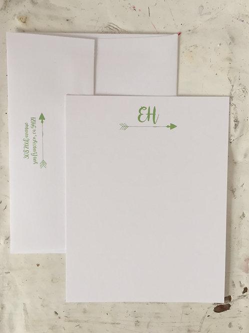 Arrow Initial Flat Note Card