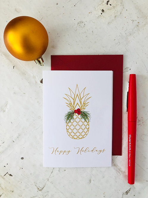 Welcome Pineapple Holiday Folding Card
