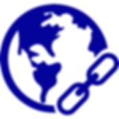 blue earth with link symbol