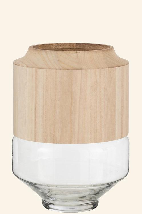 Vase rond en bois et verre