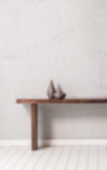 grey concrete wall wooden modern desk wi