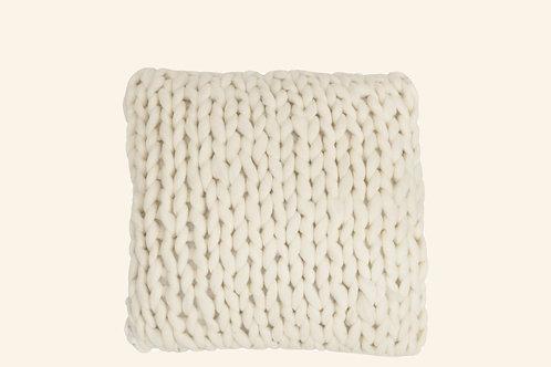 Coussin tricot blanc cassé