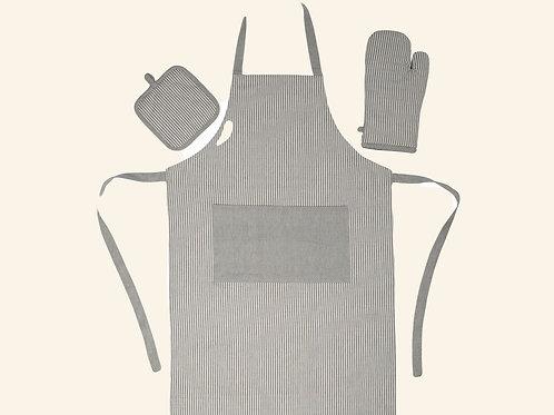 Ensemble gants et tablier - Gris