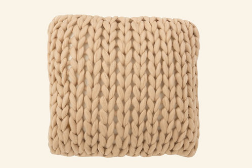 Coussin tricot beige