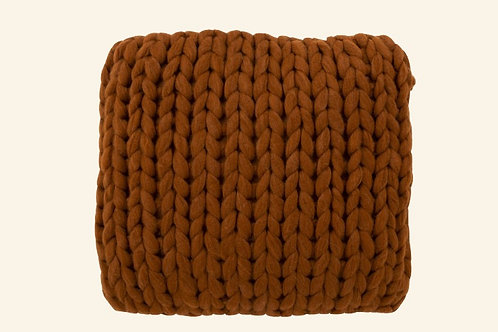 Coussin tricot rouille