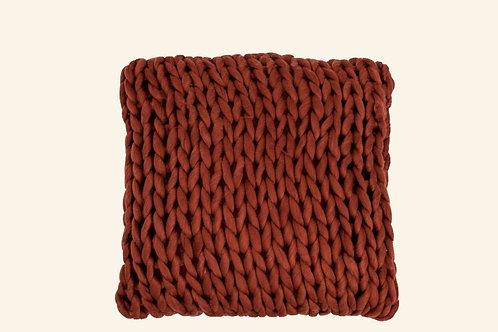 Coussin tricot brique