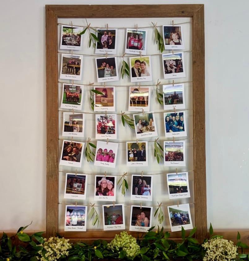 Wooden frame polaroid display