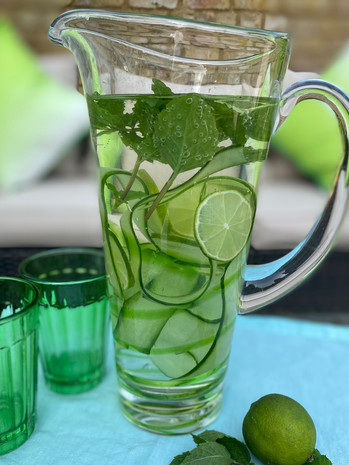 Water with cucumber ribbons and lime