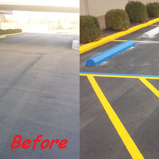 Parking lot striping before and after 1.