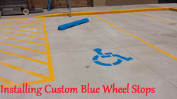 Custom Blue Concrete Wheel Stops